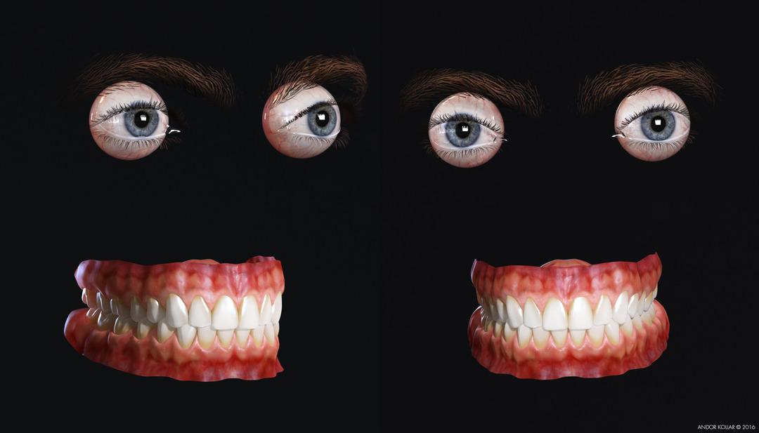 3d eye eyelash eyebrow teeth