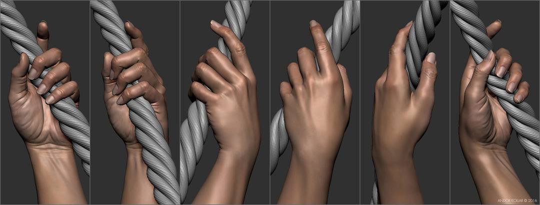 Female lady hand hold a rope in ZBrush