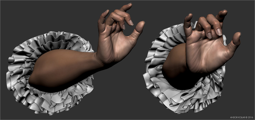 Graceful lady arm with ruffles in ZBrush