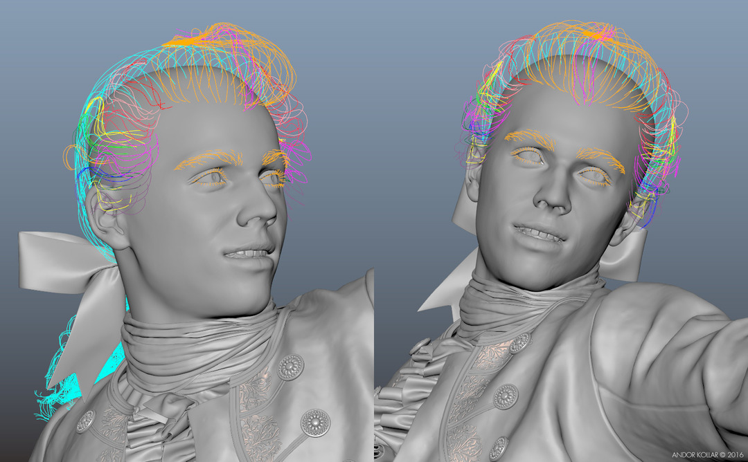 3d Man Head with Maya XGen Wig Hair Guides Curves