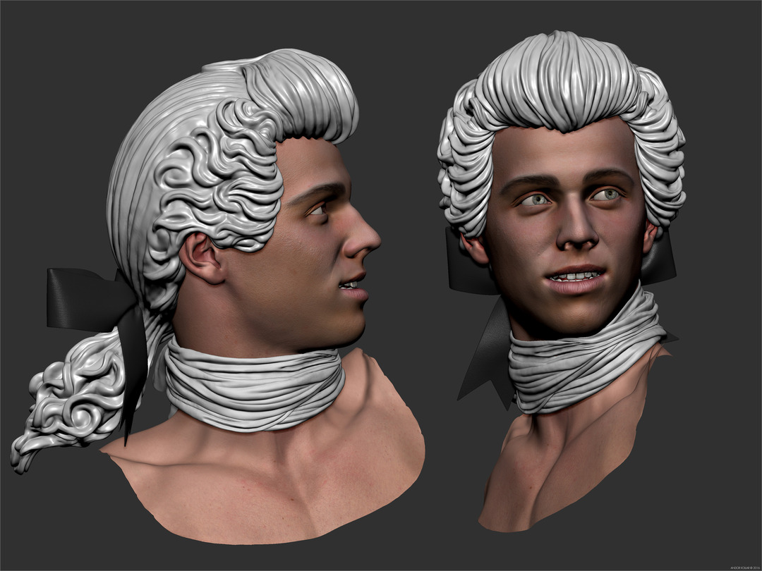 Young guy Casanova head in ZBrush with scarf and 18 century wig with bow