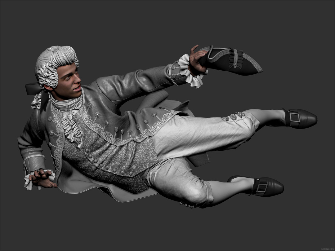 3d Man Character Detailed Clothes in ZBrush 18th Century Wig and Aristocrat Costume with Tricorn Hat