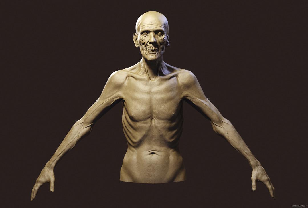 Undead Skinny Anatomy Zombie ZBrush Keyshot
