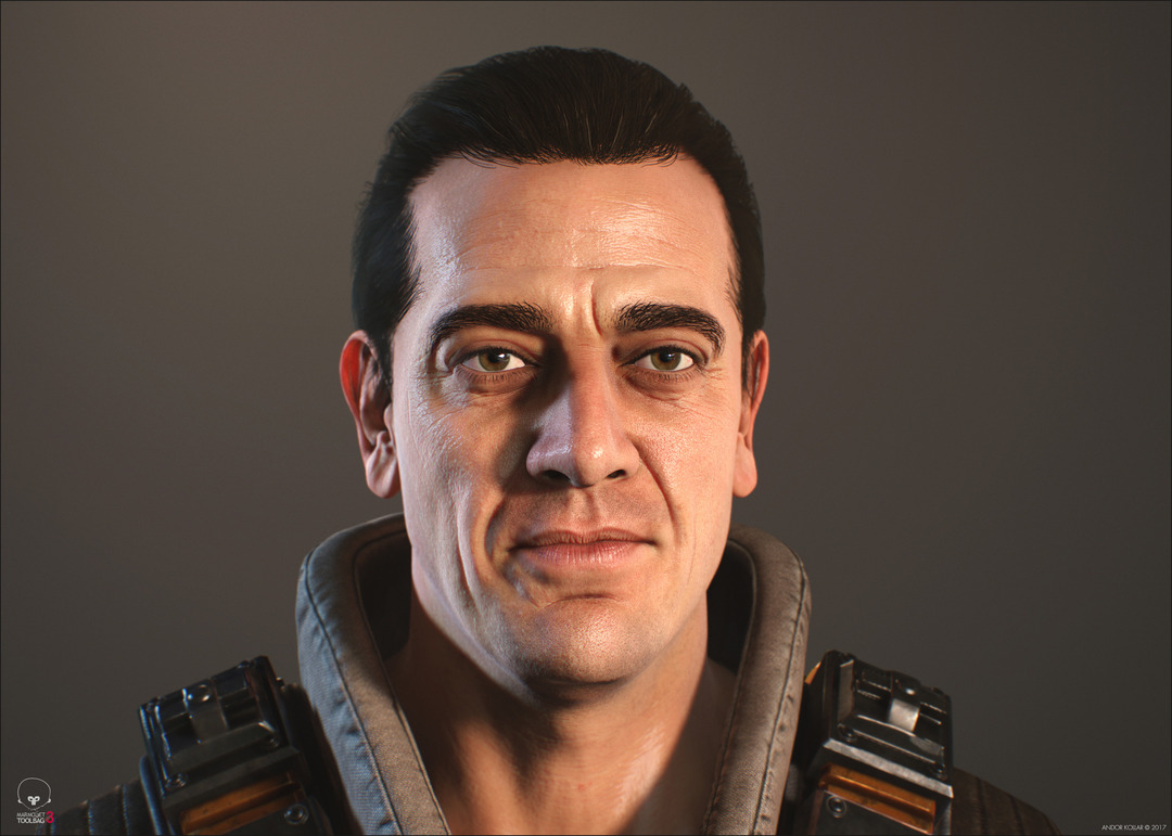 3d game soldier with the face of Jeffrey Dean Morgan with polygon hair