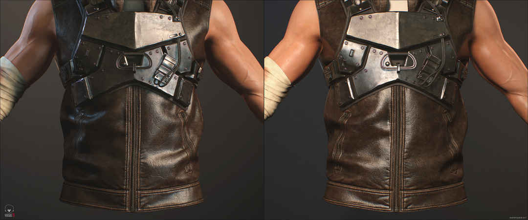 3d game soldier with metal armor and leather vest in Marmoset Toolbag