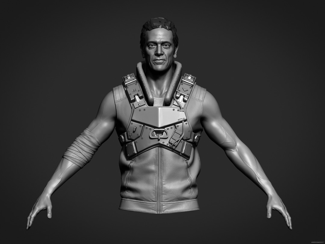 ZBrush soldier with metal armor, leather vest and arm bandage