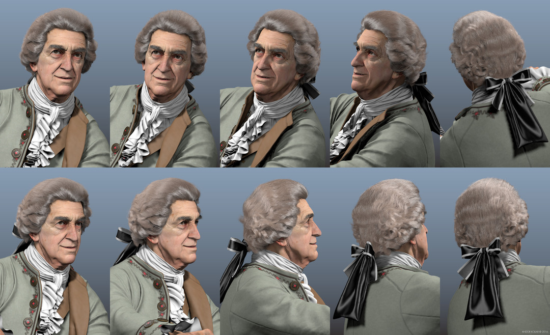 3d smiling old man character head with Maya XGen 18th century wig hair with bow and aristocrat costume