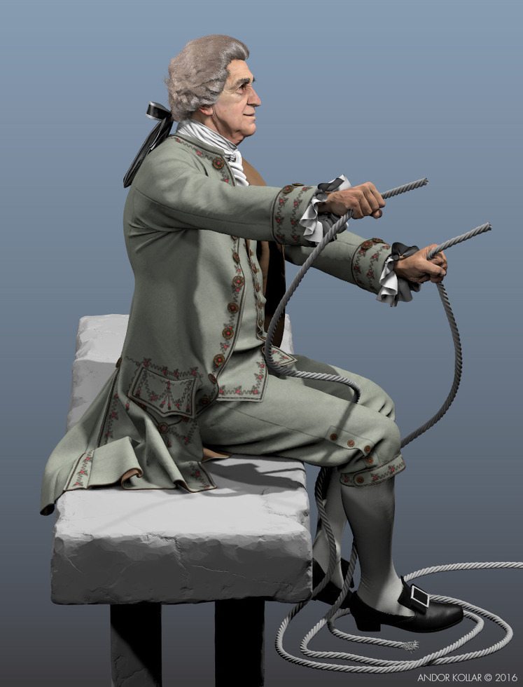 3d old man character sitting on bench, the 18th century wig hair created with Maya XGen and he wear aristocrat costume, rope in hand
