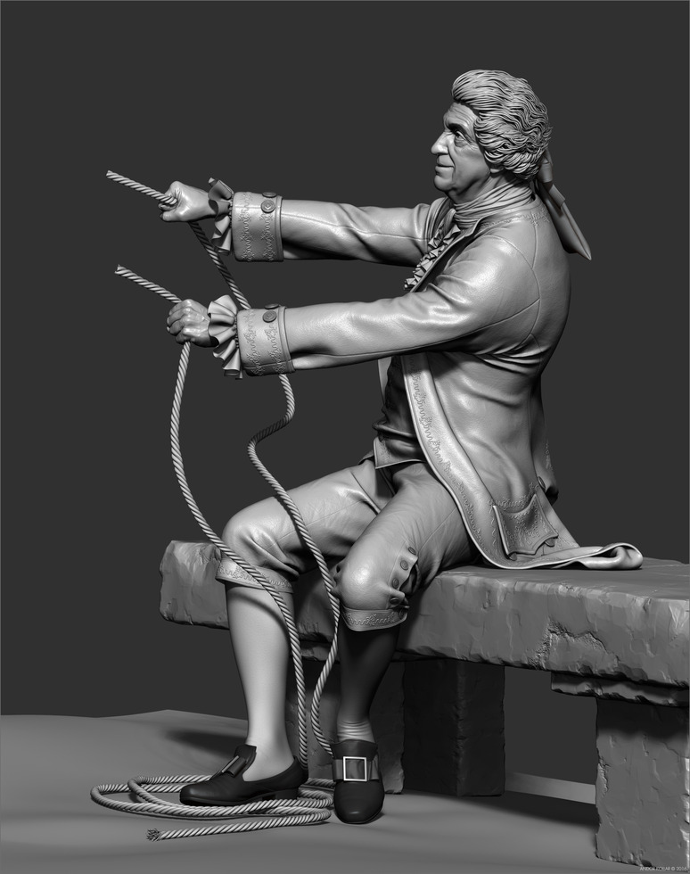 3d old man character detailed clothes in ZBrush with 18th century wig and aristocrat costume and rope in hand