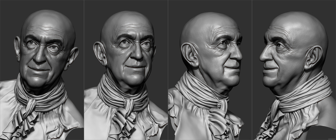 Jonathan Pryce 3d old man character head in ZBrush