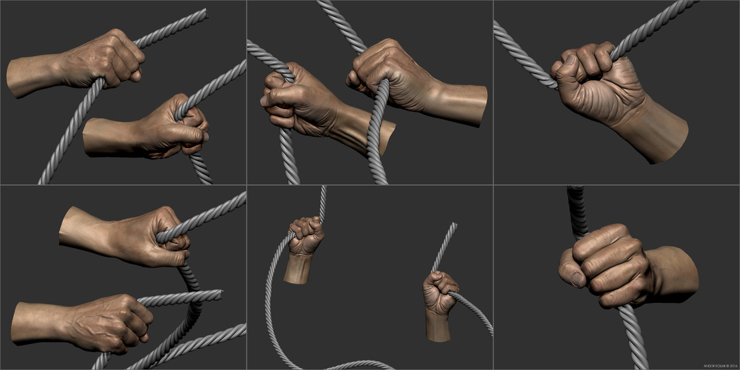 Old man hand in ZBrush hold rope