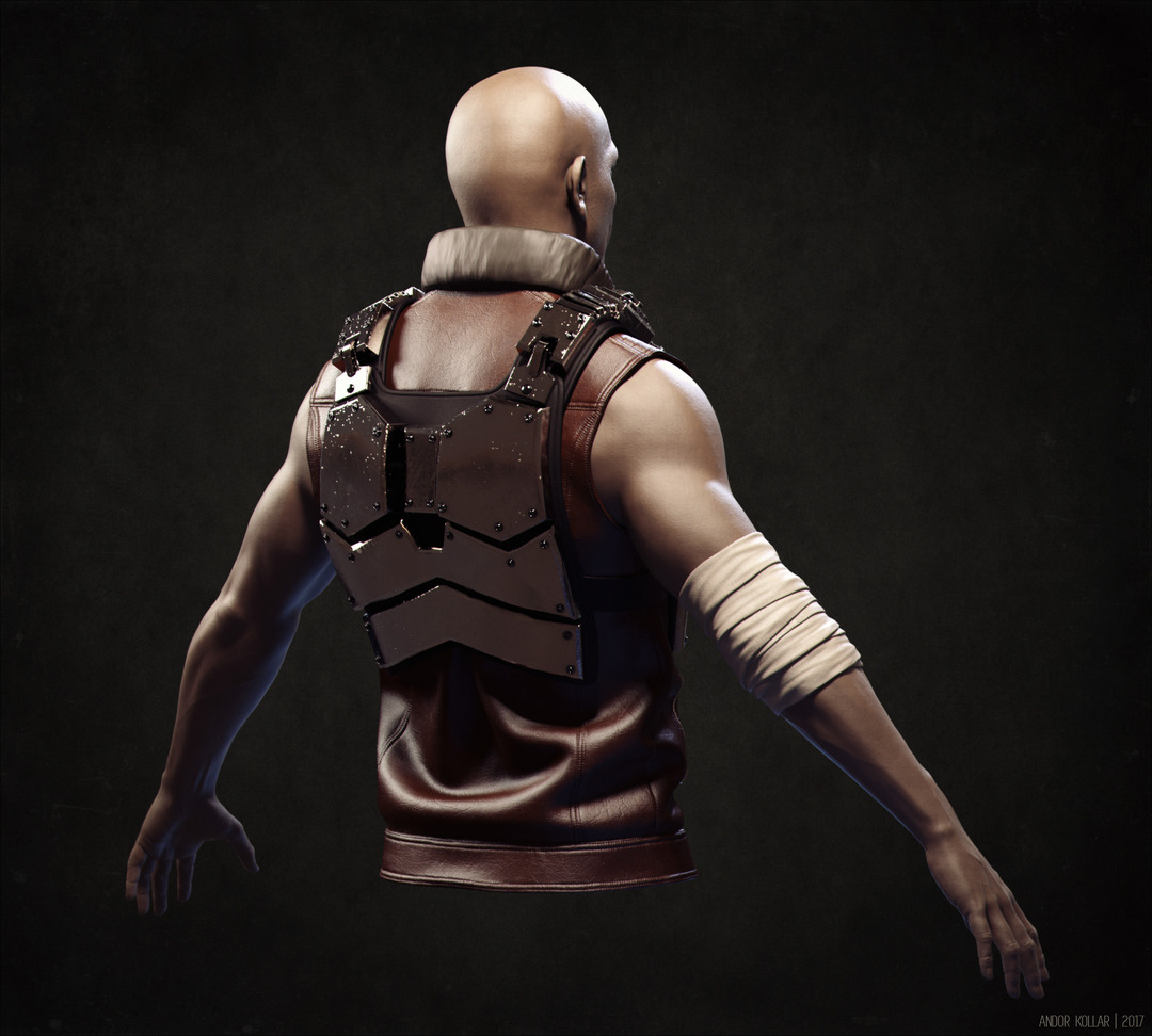 Metal armored 3d soldier with leather vest and bandage on arm, the character rendered in KeyShot.