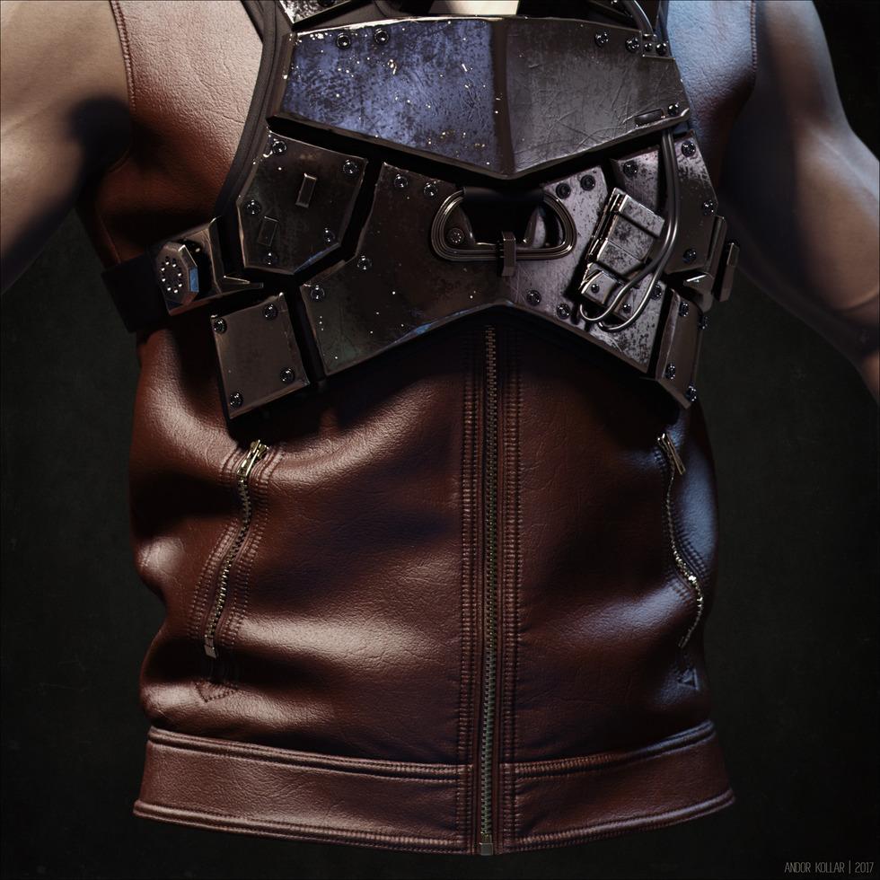 3d leather vest