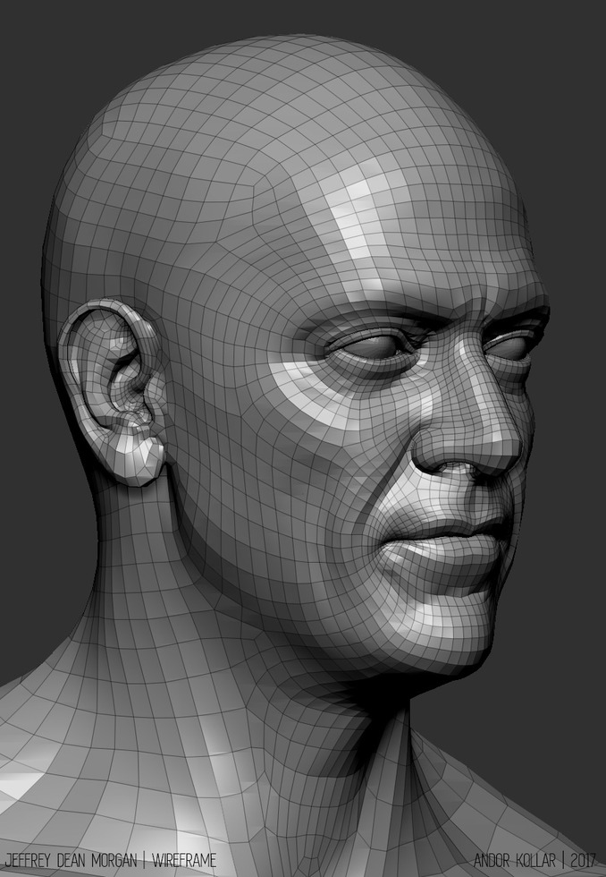 Jeffrey Dean Morgan Head wireframe in ZBrush