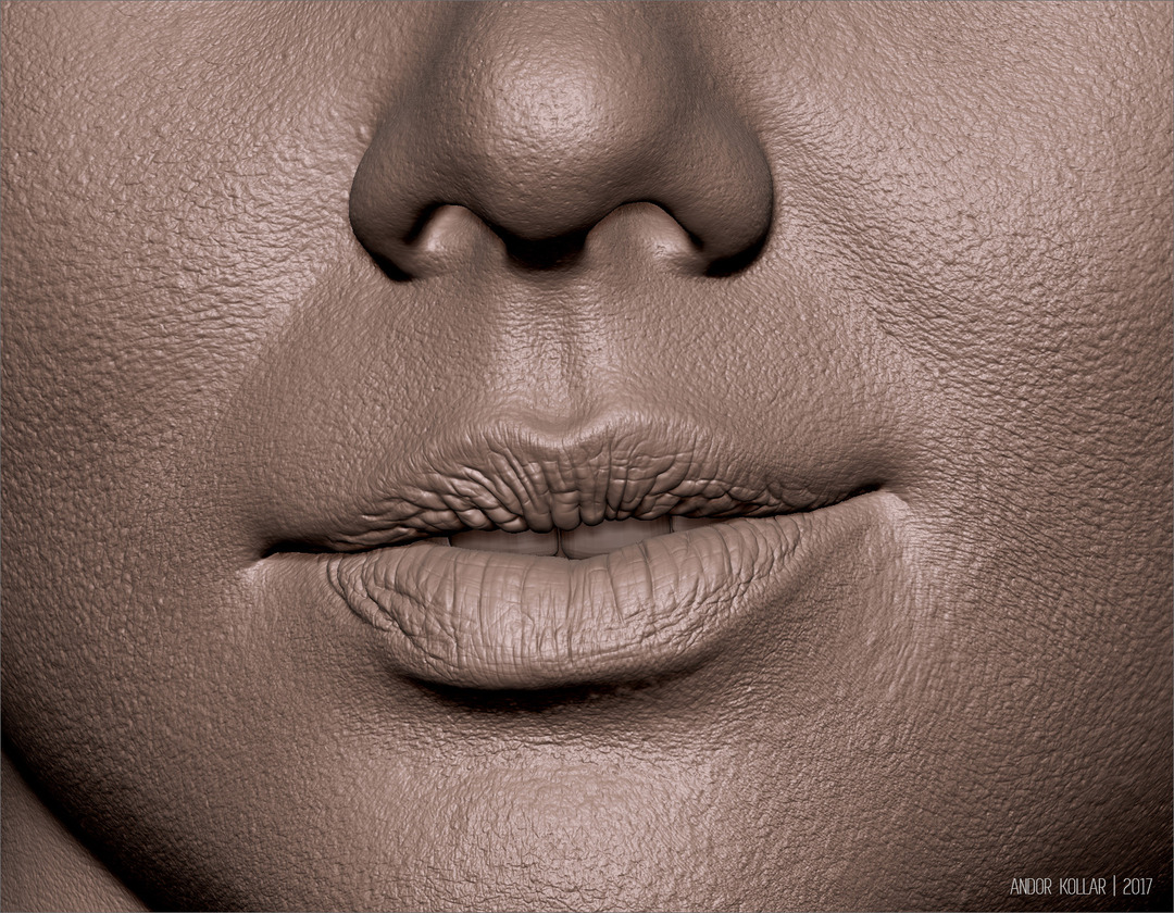 ZBrush face female mouth details