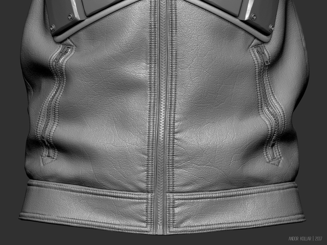ZBrush jacket leather and zipper details