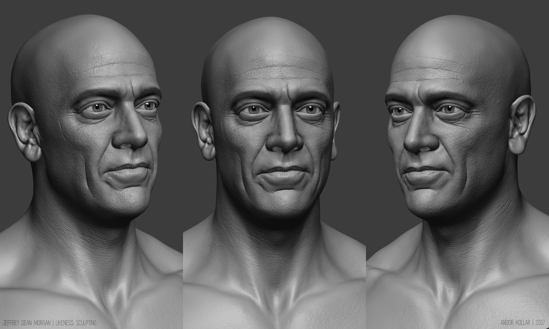 Jeffrey Dean Morgan Likeness Head Sculpting in ZBrush