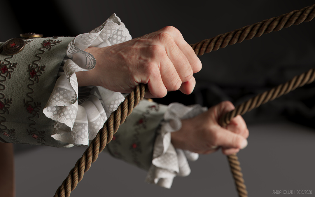 3d hand holding rope ruffle and lace