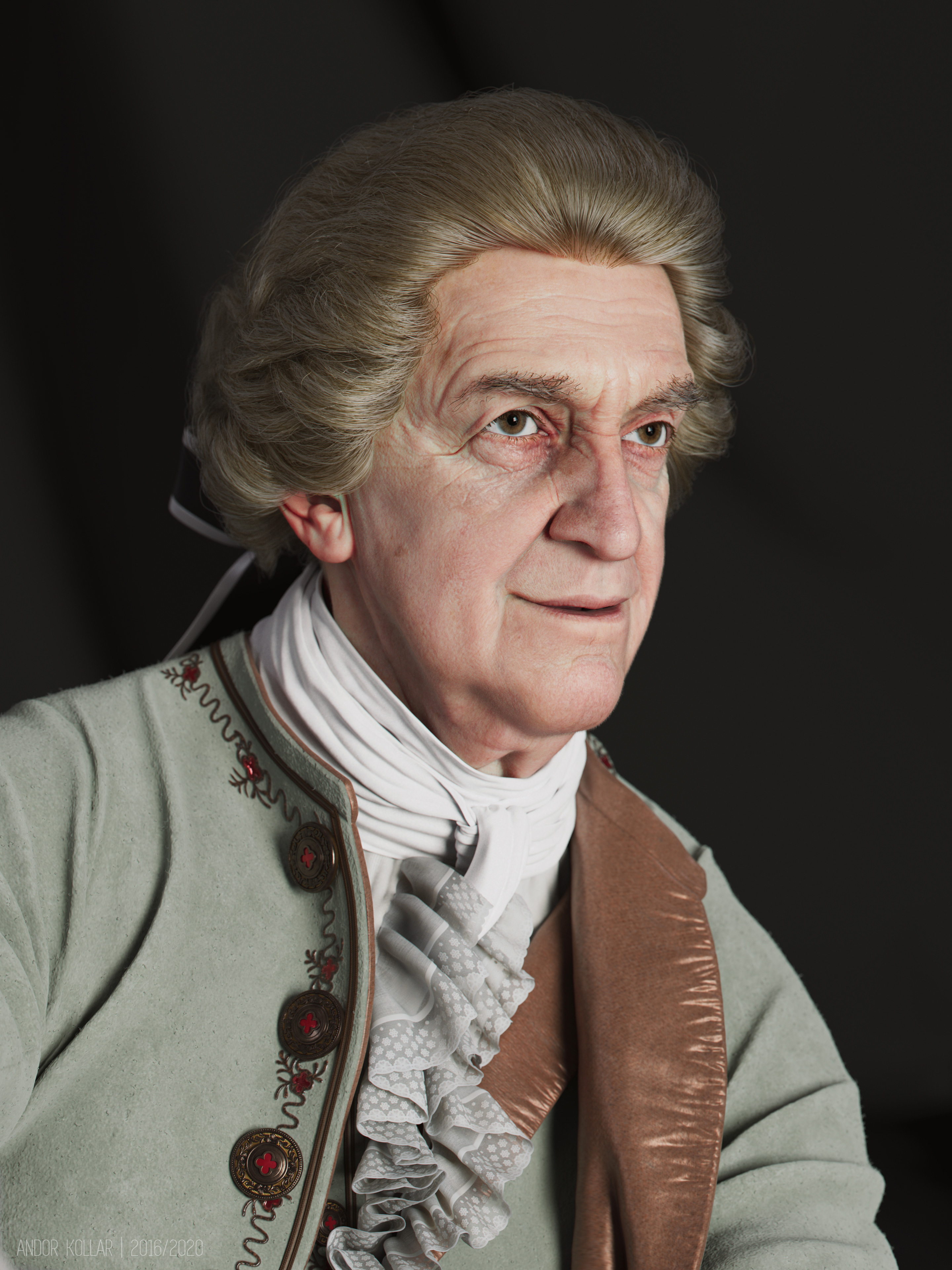 3d artwork of Andor Kollar in Maya with Arnold renderer, head, XGen hair, Jonathan Pryce as aristocrat with 18th costume, laces, scarf, wig and bow