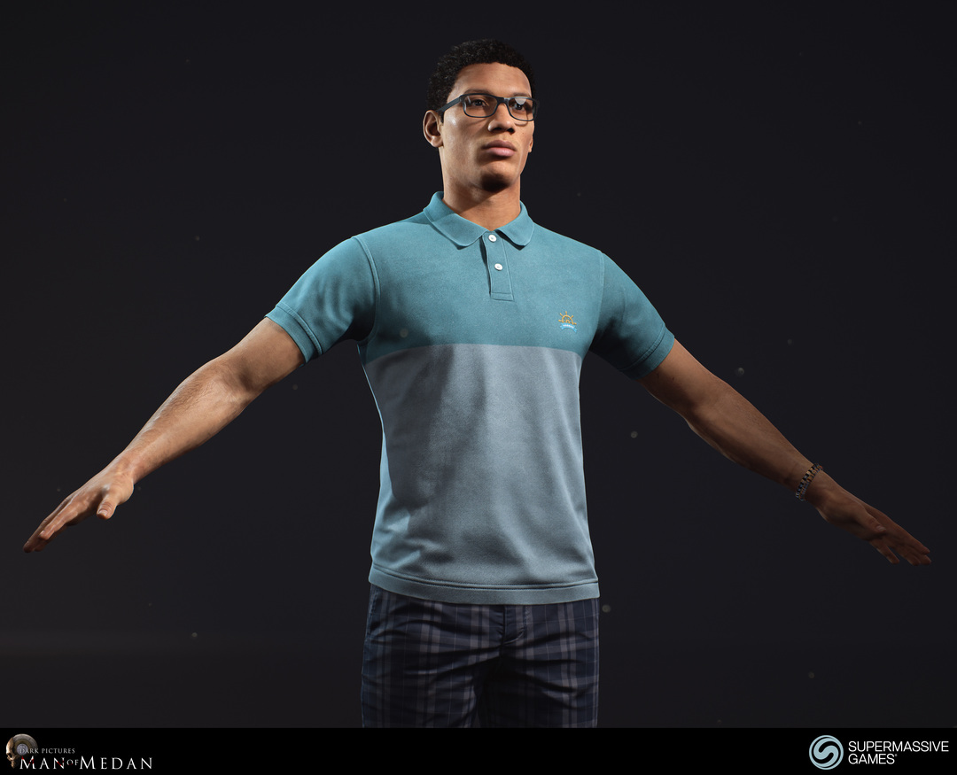 Brad is character from The Dark Pictures - Man of Medan game in Unreal Engine. He is an african american guy in blue polo shirt and in plaid shorts.