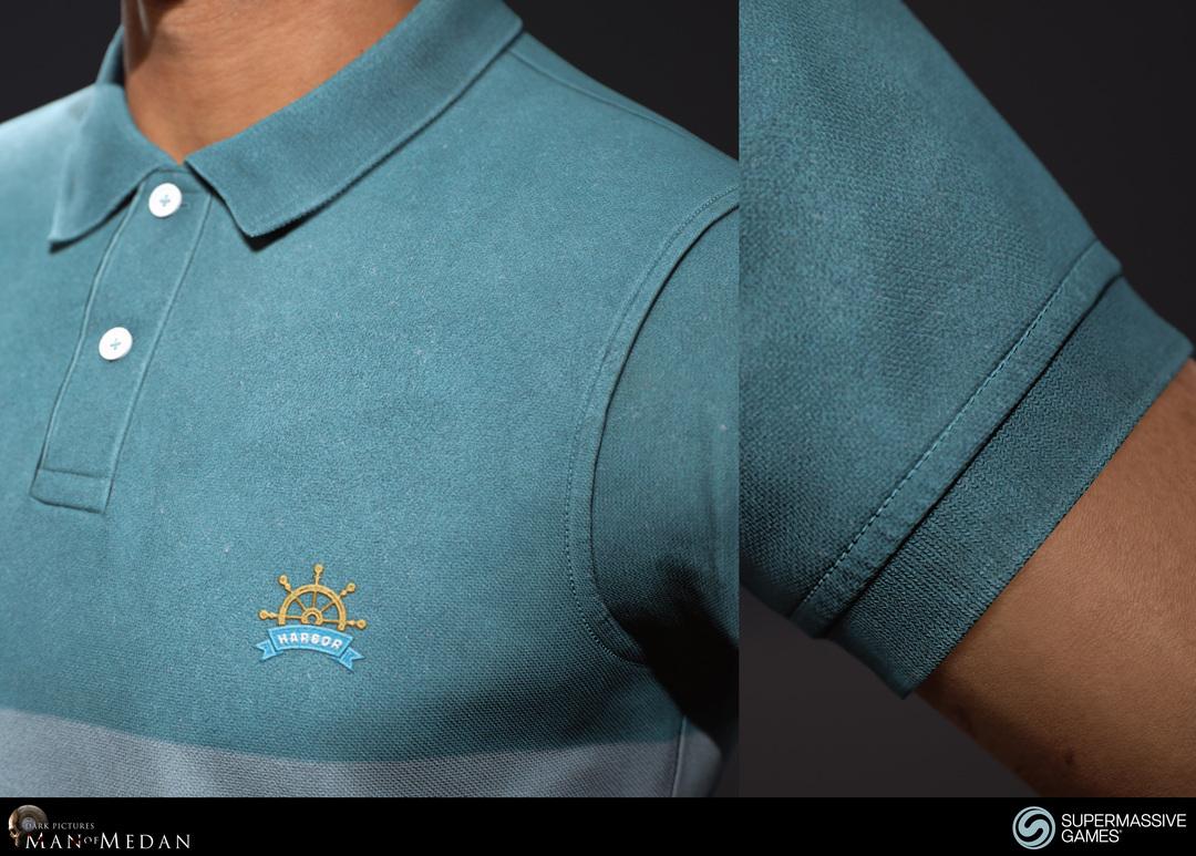 blue polo shirt close-up