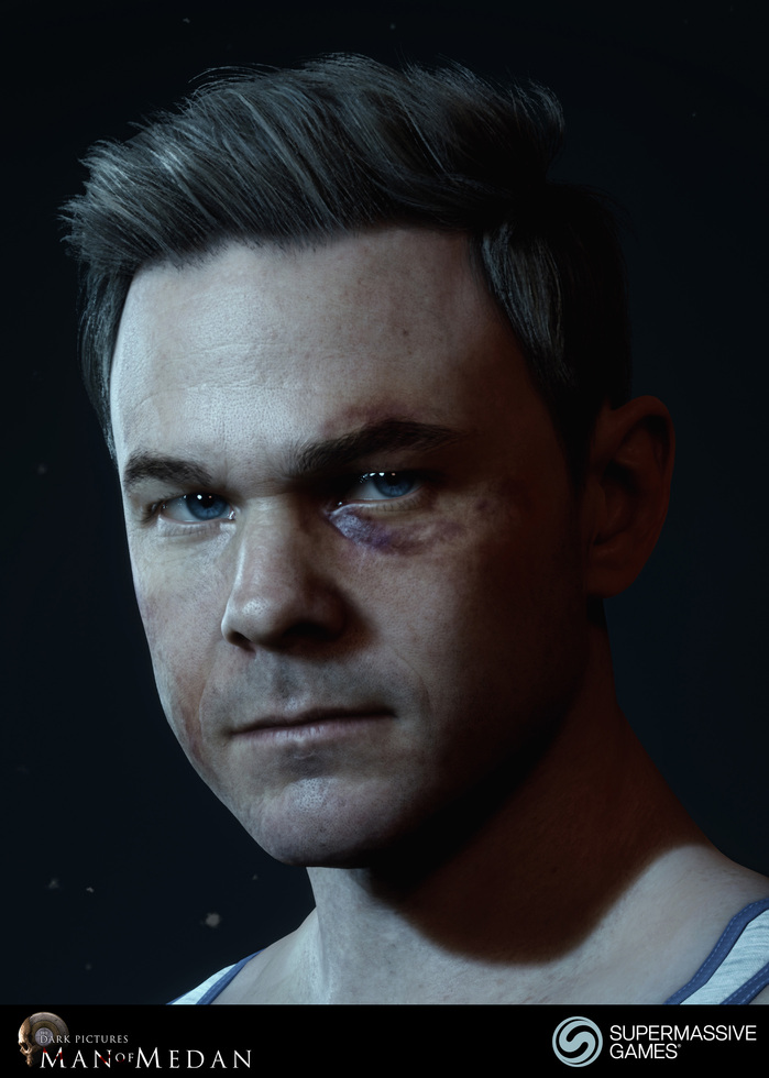 Conrad is character in The Dark Pictures - Man of Medan game in Unreal Engine. Conrad's face has bruises.