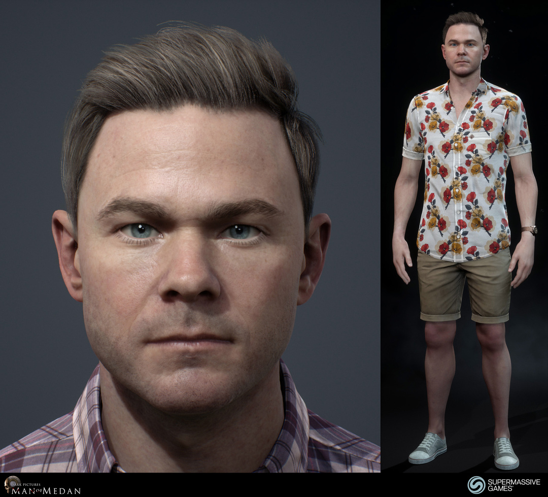 Conrad's face and full body in The Dark Pictures - Man of Medan game in Unreal Engine.