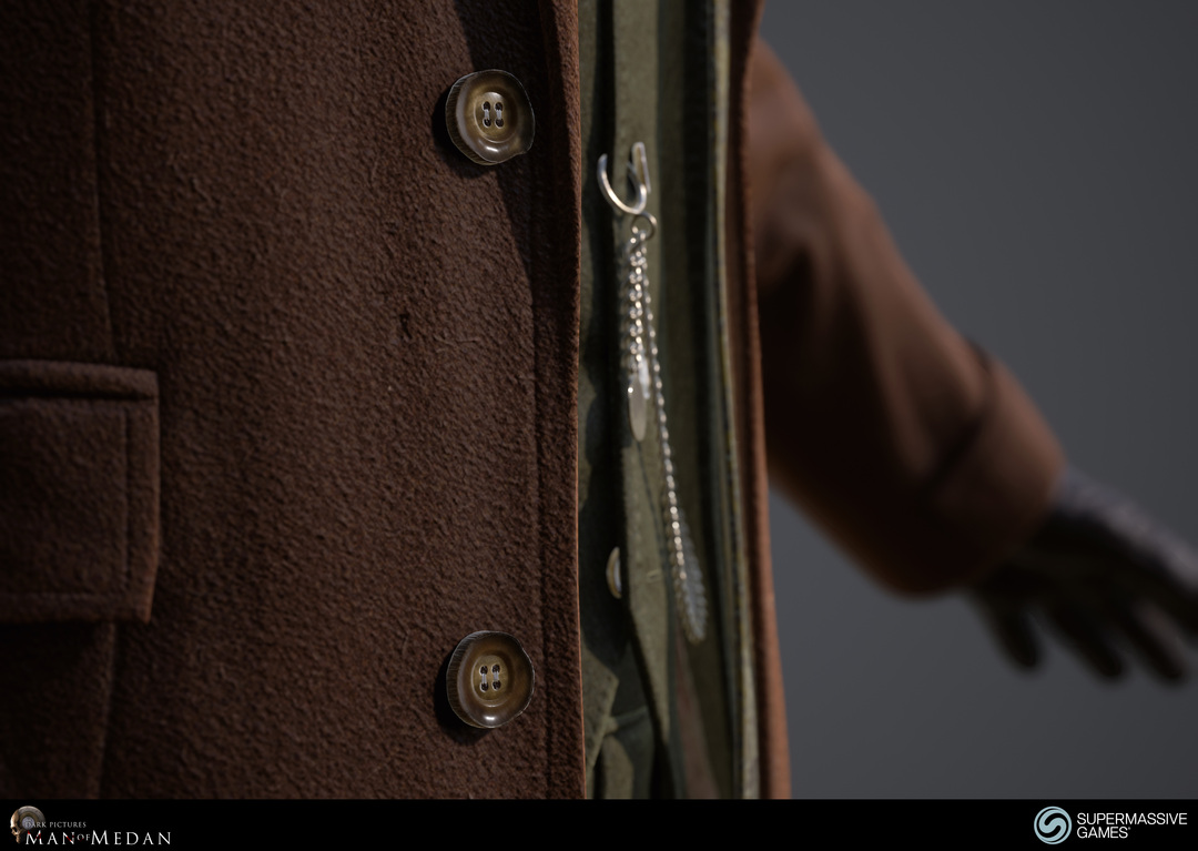 Trench coat, buttons and pocket watch in Unreal Engine. Andor Kollar