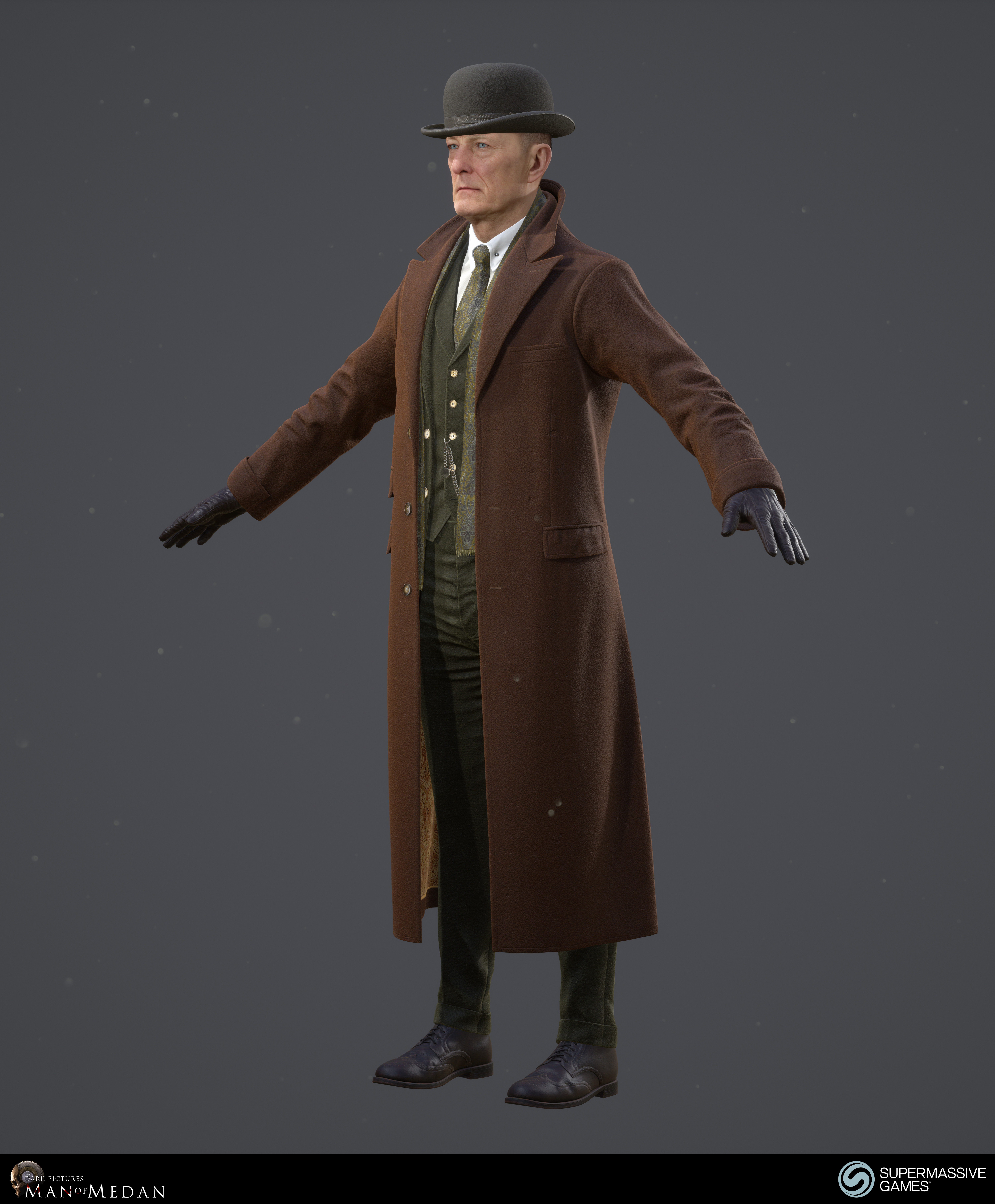 The Curator character in trench coat from The Dark Pictures game in Unreal Engine. Andor Kollar