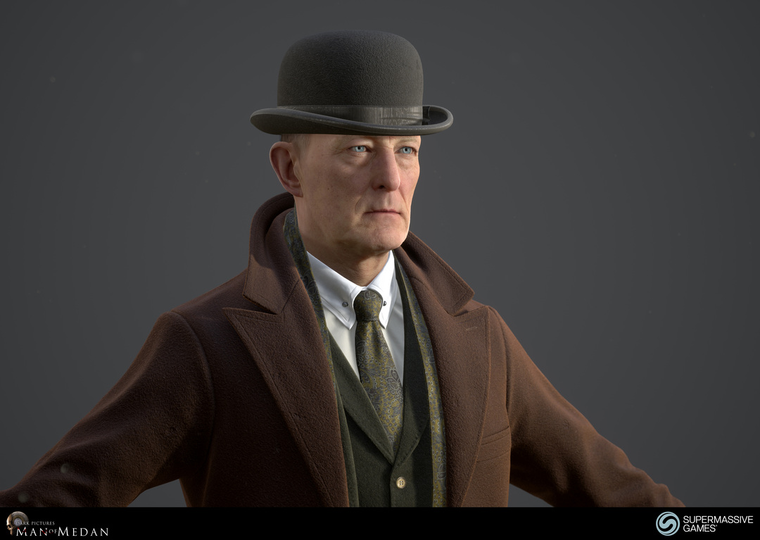 The Curator character in trench coat and with bowler hat from The Dark Pictures game in Unreal Engine. Andor Kollar