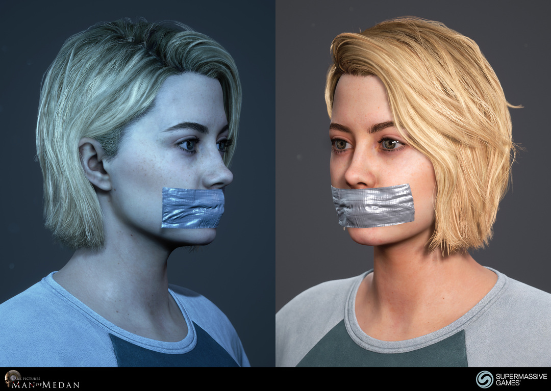Julia with mouth tape from Man of Medan, girl with blonde hair. Andor Kollar