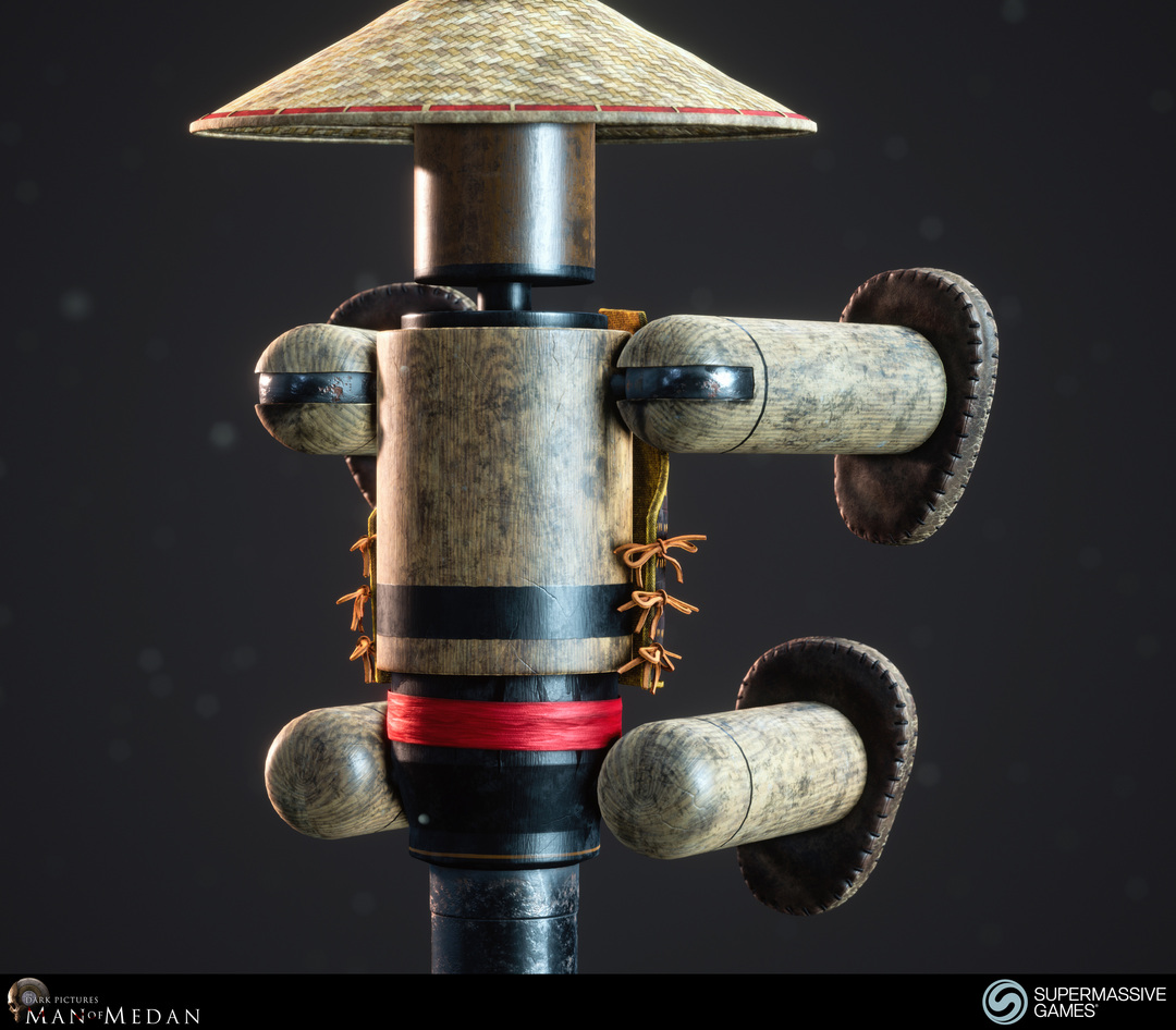 Kungfu wooden dummy with Chinese hat from Man of Medan game in Unreal Engine