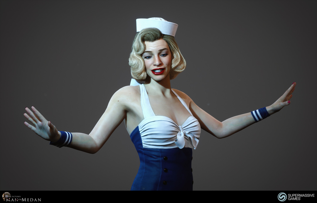 Sexy blonde pinup girl like Marilyn Monroe with blue and white dress and sailor hat from Man of Medan game. Andor Kollar