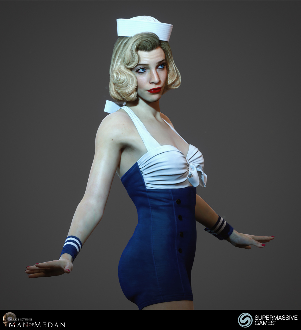 Sexy blonde pinup girl with blue and white dress and sailor hat from Man of Medan game. Andor Kollar