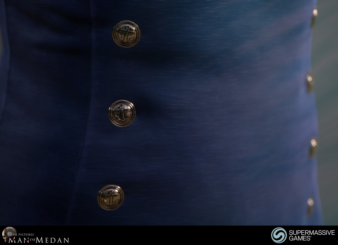 Bronze sailor buttons and blue silky dress in Unreal Engine.