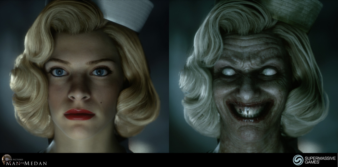 The seductive Pinup girl transforms to a rotten ghost in Man of Medan game.
