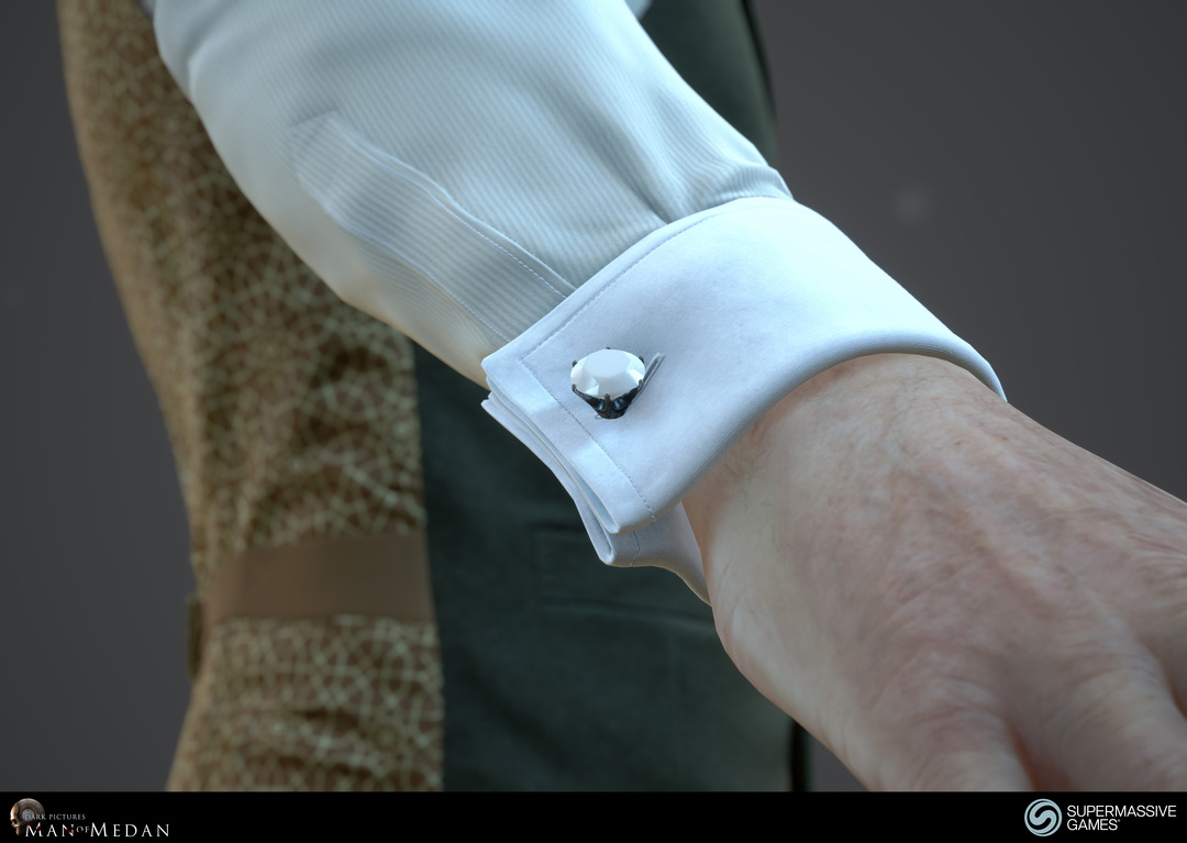 The Curator character from The Dark Pictures game in Unreal Engine. Elegant shirt sleeve cufflink. Andor Kollar