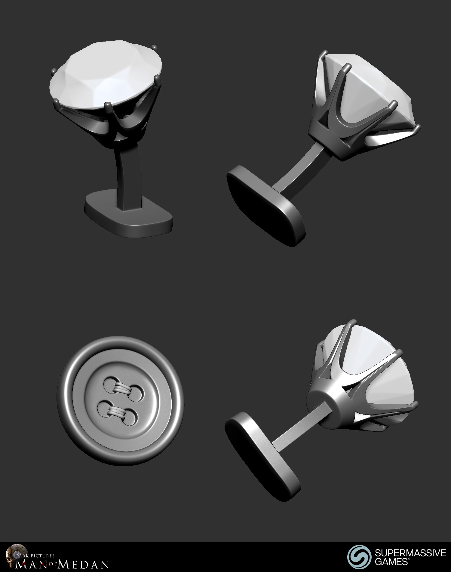 Cufflink crystal and button of the Curator character from Dark Pictures. ZBrush, Andor Kollar.