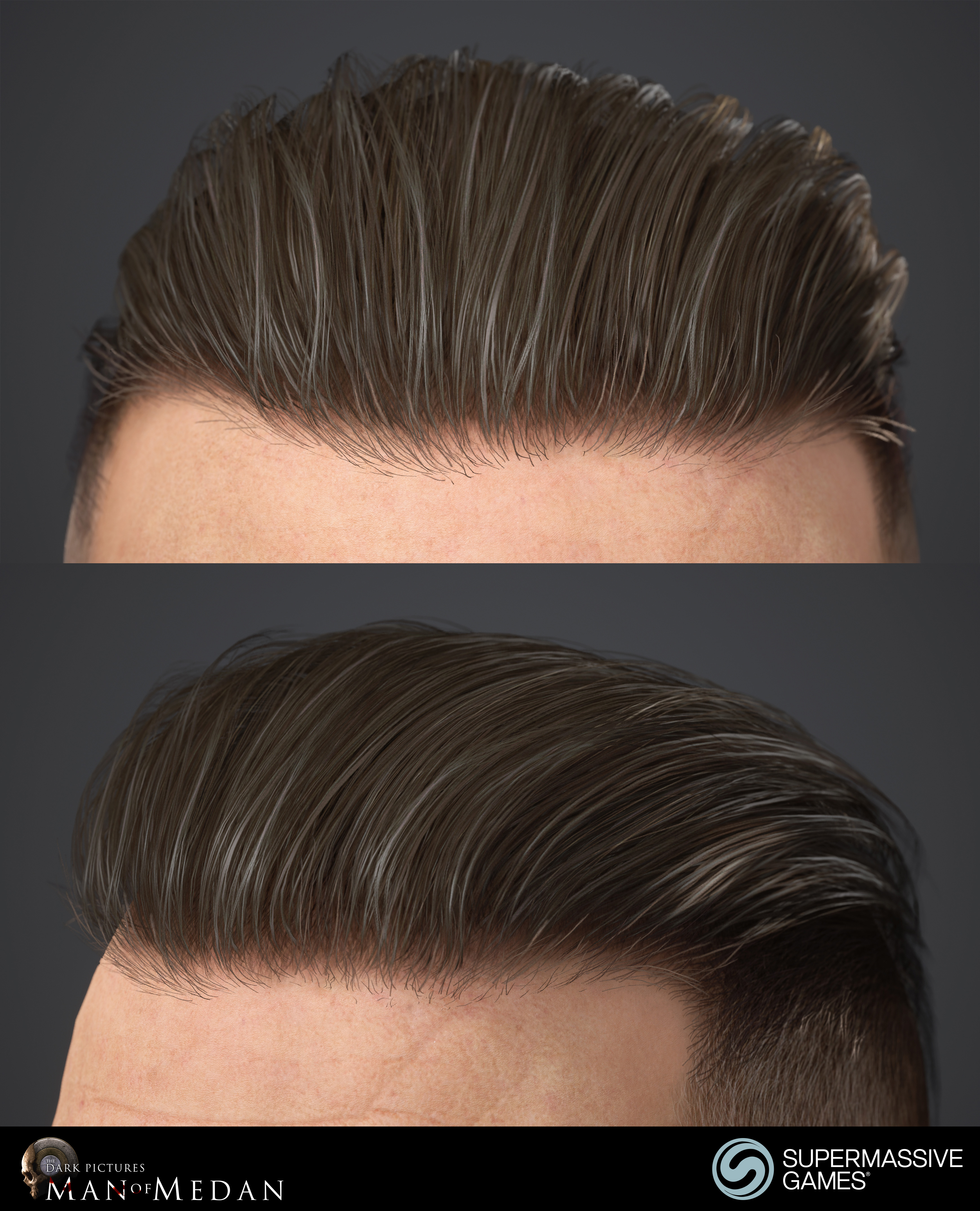 The Curator character from The Dark Pictures game in Unreal Engine. Strong hold hair wax, game hair. Andor Kollar