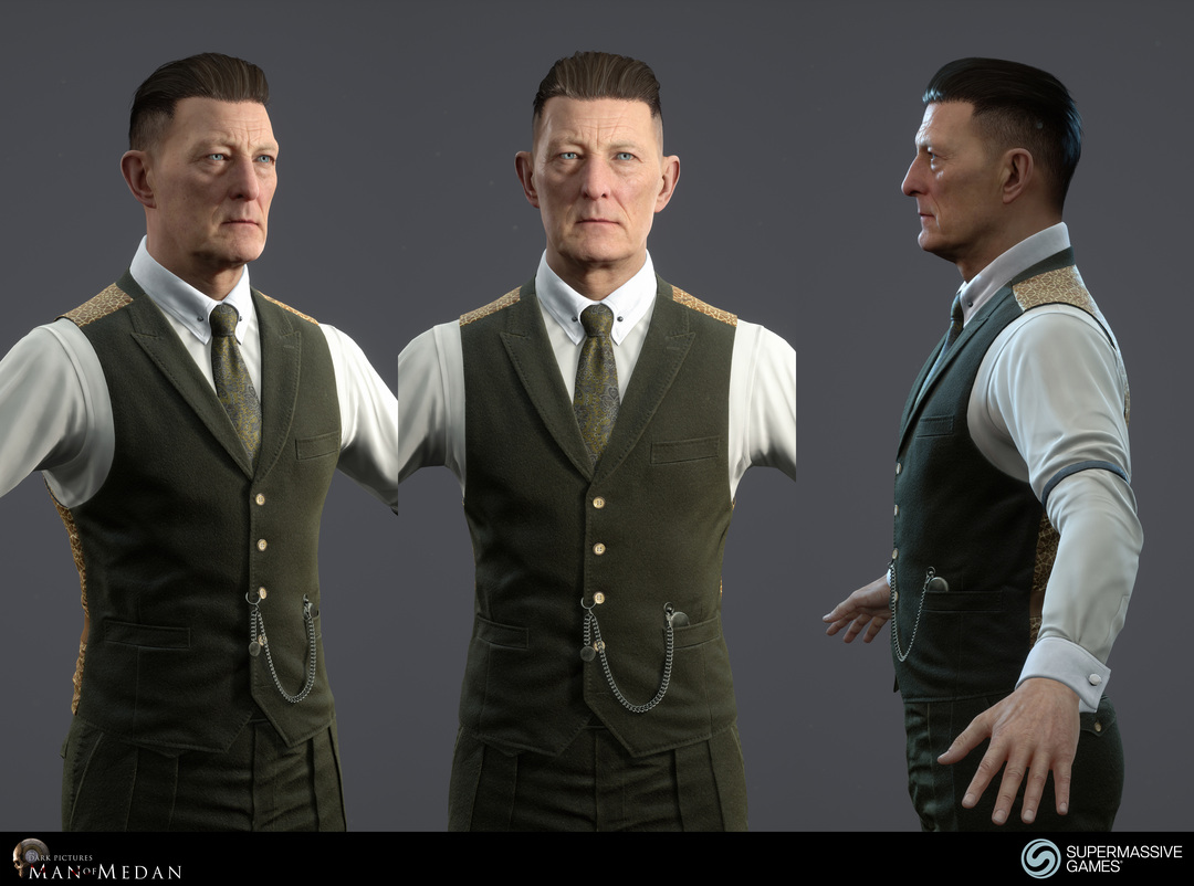 The Curator character from The Dark Pictures game in Unreal Engine. Cold hearted face with blue eyes, strong hold hair wax, elegant green waistcoat. Andor Kollar