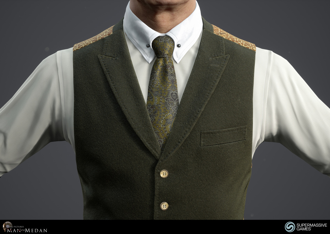 The Curator character from The Dark Pictures game in Unreal Engine. Elegant green waistcoat and tie. Andor Kollar