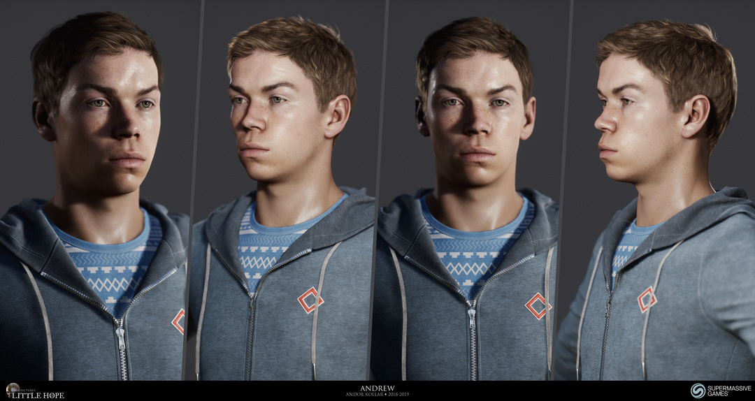 Little Hope, 3d game character, Head of Andrew, short brown hair, blue hoodie, Will Poulter, Unreal Engine