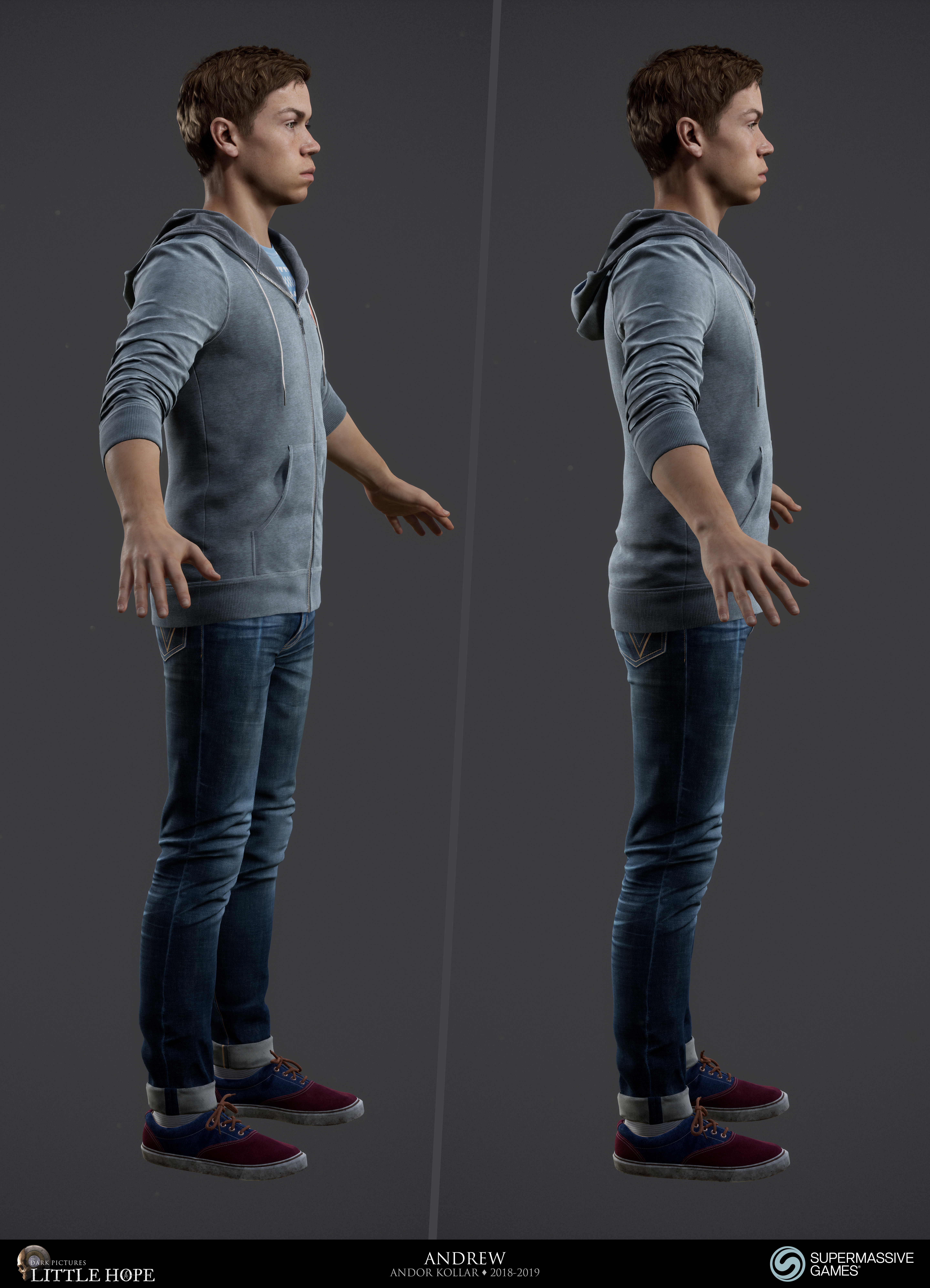 Little Hope, 3d game character, Andrew, young guy male, blue hoodie and jeans, Will Poulter, Unreal Engine,