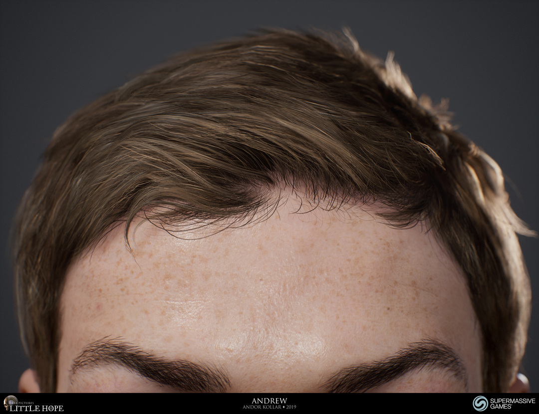 Little Hope, 3d game character, Andrew, realistic short brown polygon hair for game, Unreal Engine