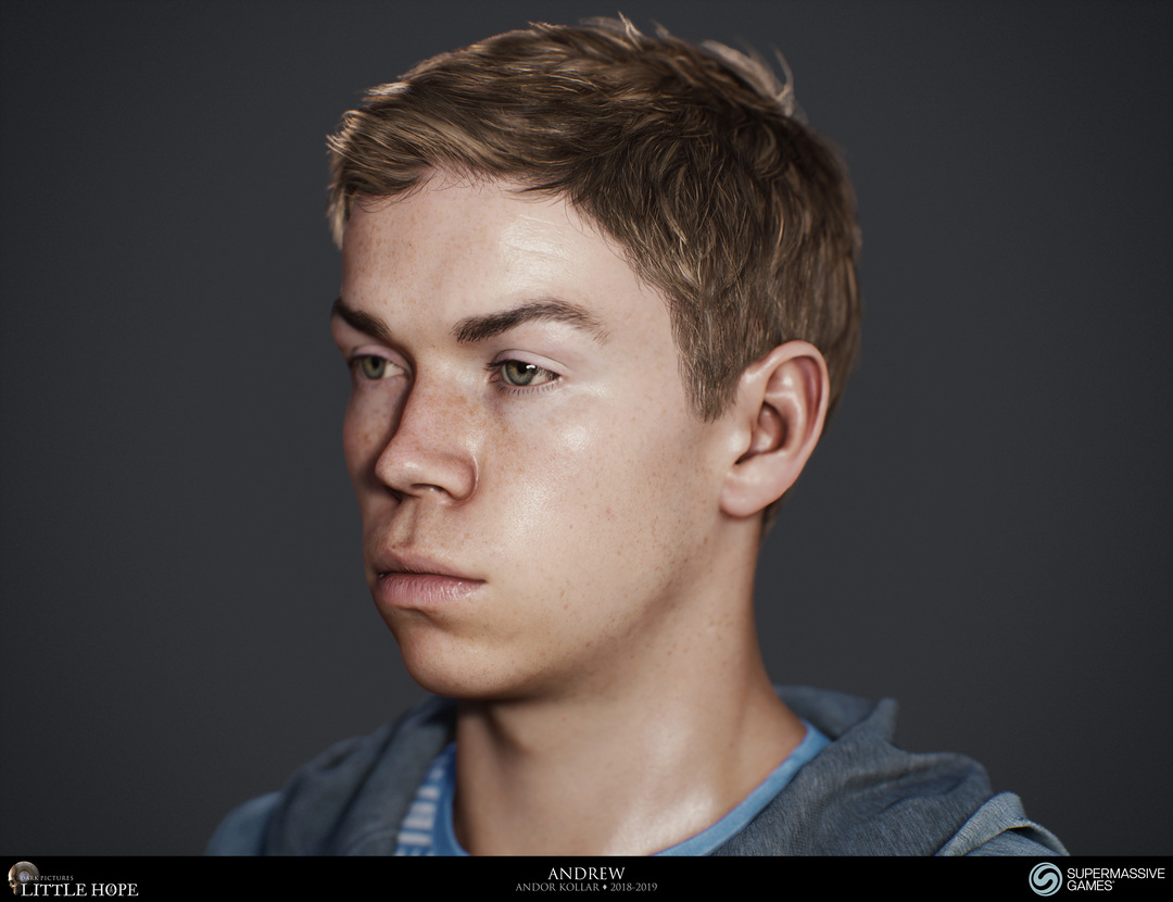 Little Hope, 3d game character, Head of Andrew, short brown hair, Will Poulter, Unreal Engine