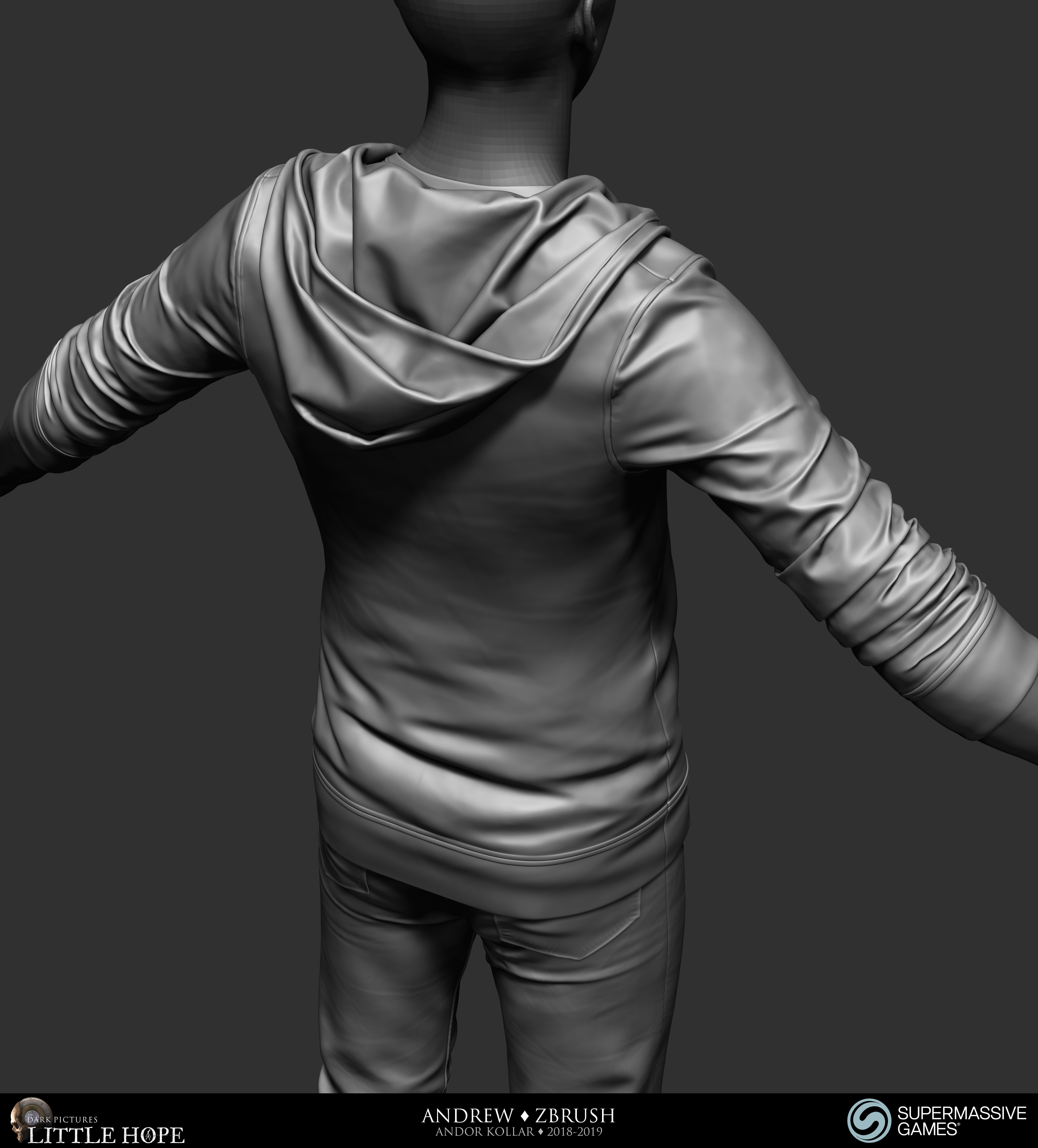 Little Hope, Andrew, 3d character, ZBrush sculpting, hoodie