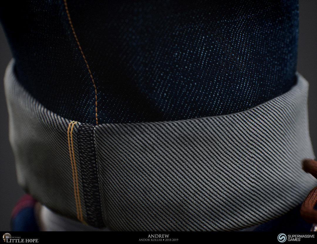 Little Hope, 3d game character, Andrew, detailed realistic blue jeans denim, Unreal Engine