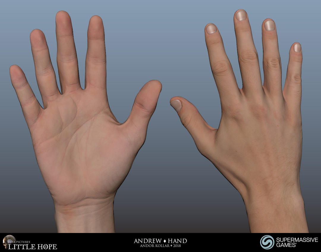 Little Hope, Andrew, 3d character, Maya, male hand