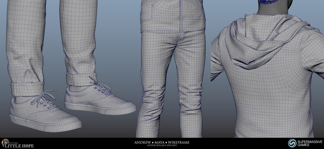 Little Hope, Andrew, 3d character, Maya wireframe