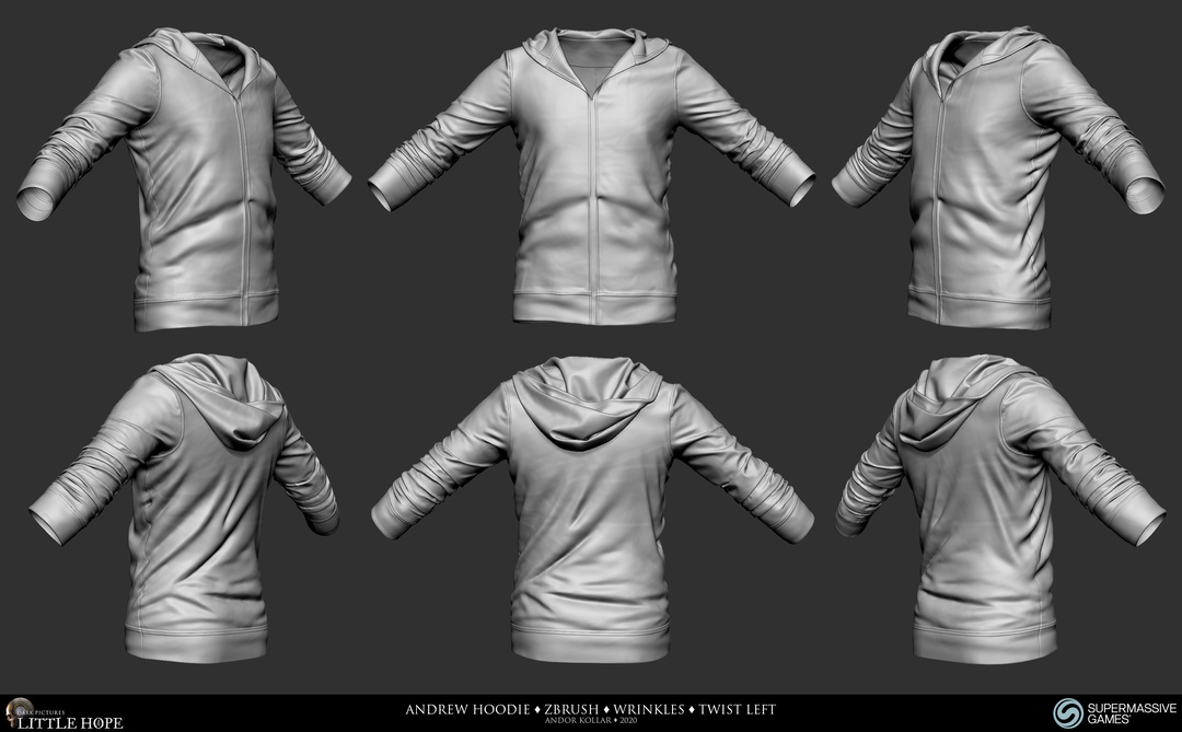 Little Hope, Andrew, 3d character, ZBrush sculpting, hoodie, twist